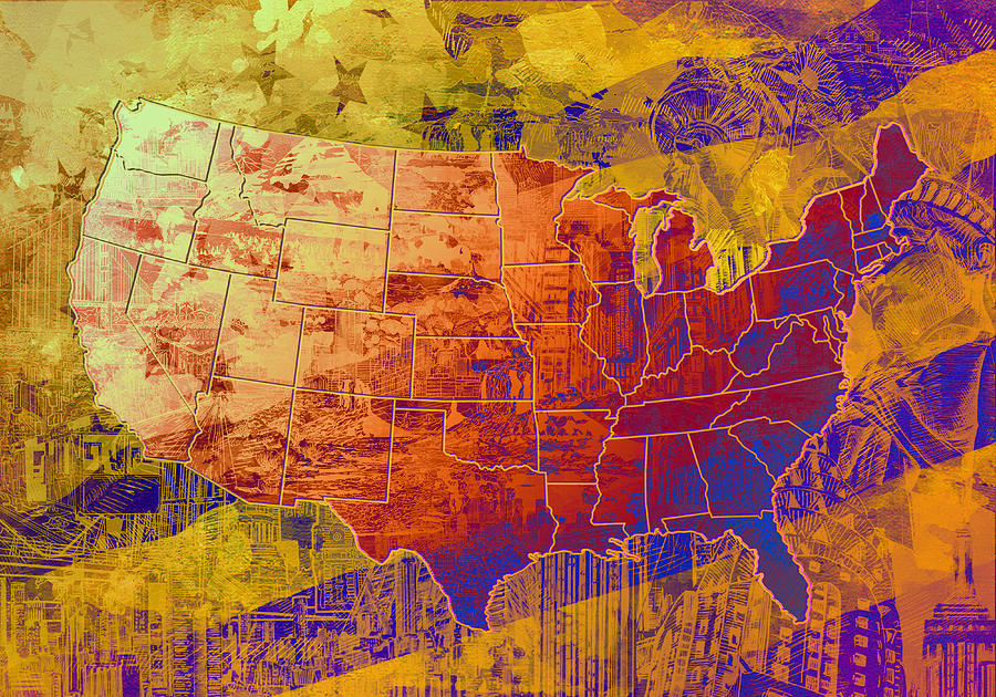 Map Painting - United States Flag Map Vintage 2 by Bekim M