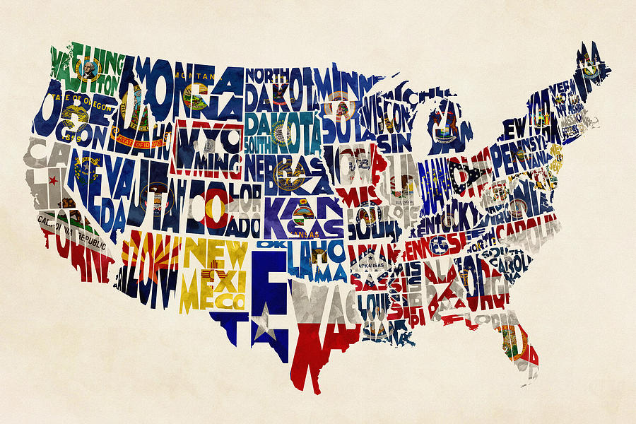United States Flags Map Painting By Inspirowl Design