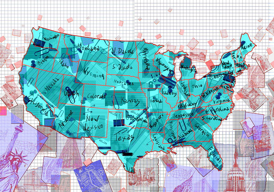 Us Map Photo Collage.United States Map Collage 2 Painting By Bekim Art
