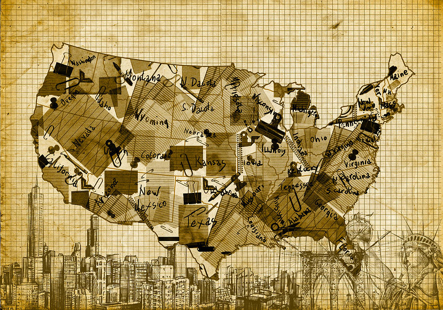 map digital art united states map collage 4 by bekim art