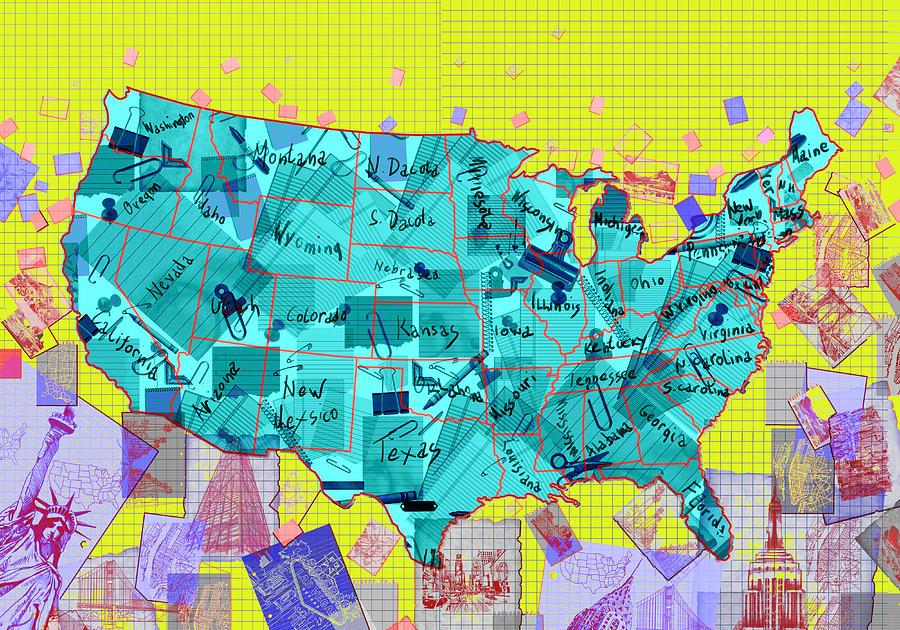 map painting united states map collage by bekim art