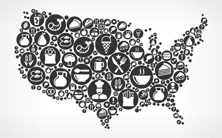 United States Map Food Black And White Icon Background