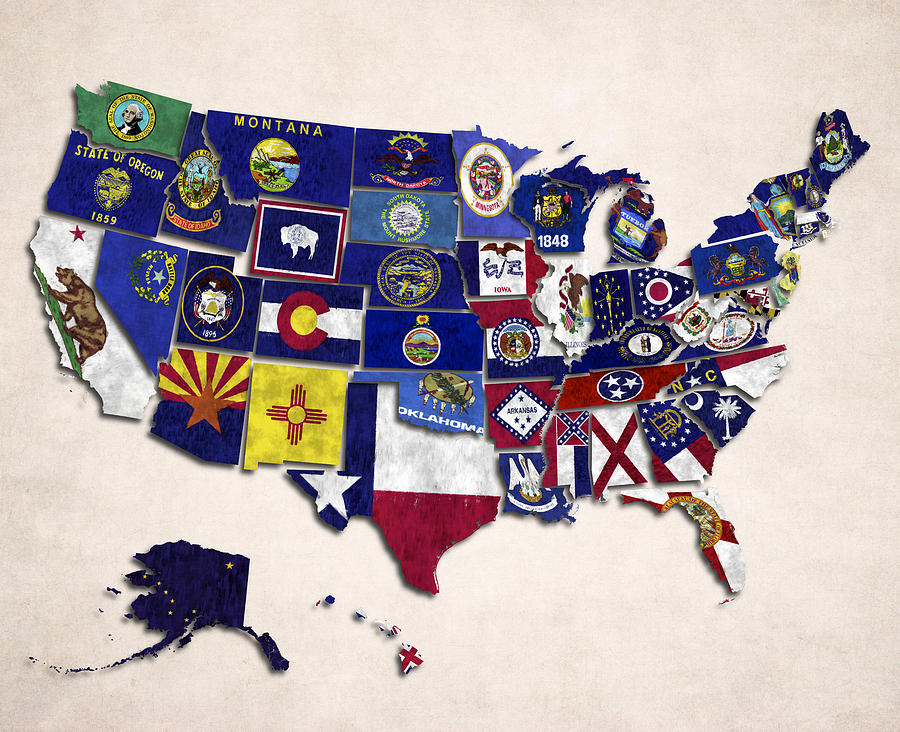 Alabama Digital Art - United States Map With Fifty States by World Art Prints And Designs