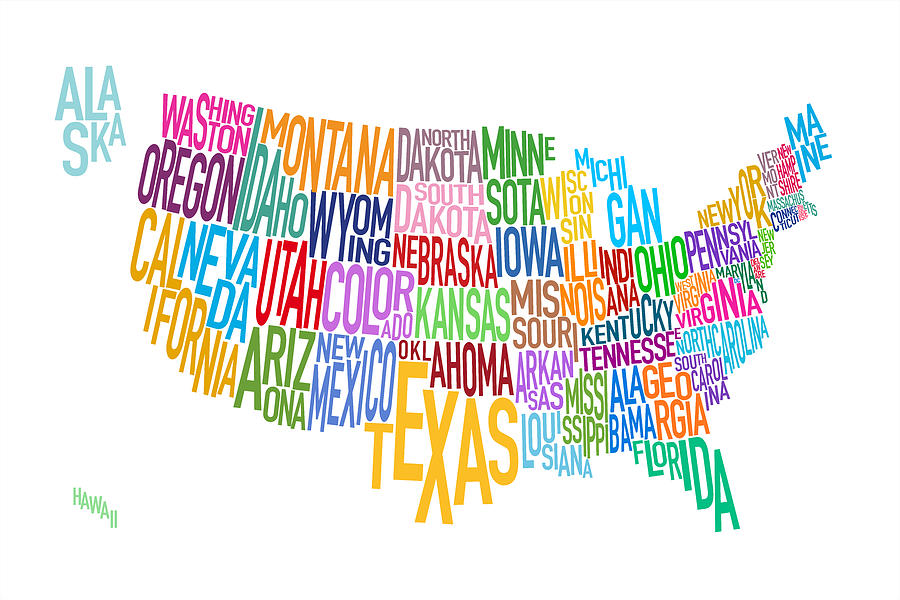 United States Text Map Digital Art By Michael Tompsett - Us map images