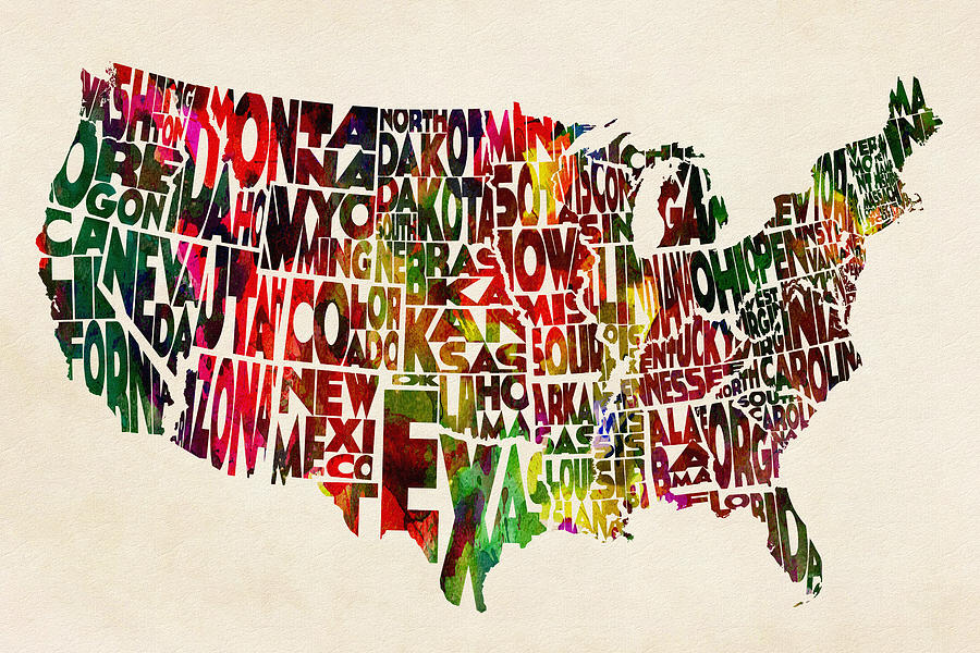 United States Painting - United States Watercolor Map by Inspirowl Design