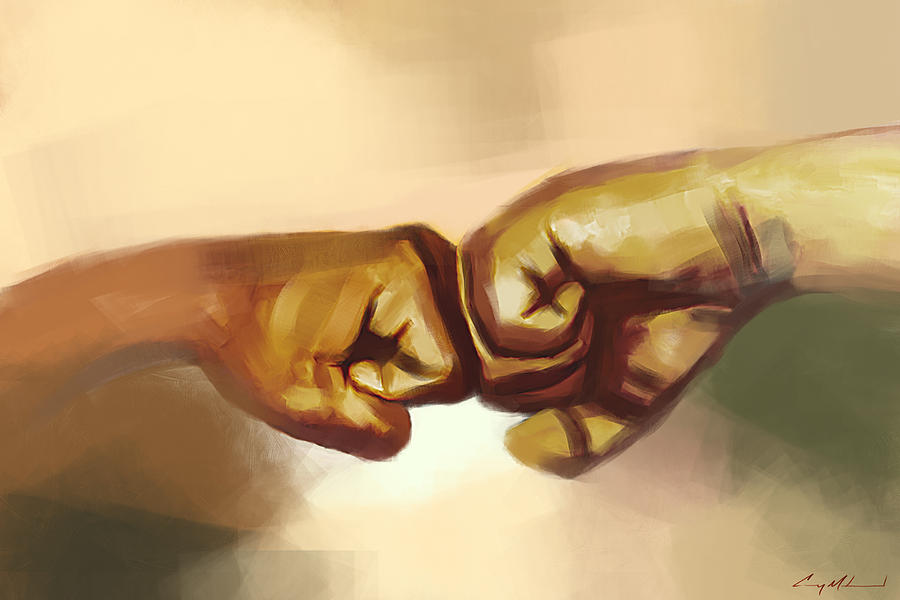 Fists Painting - Unity by Carey Muhammad