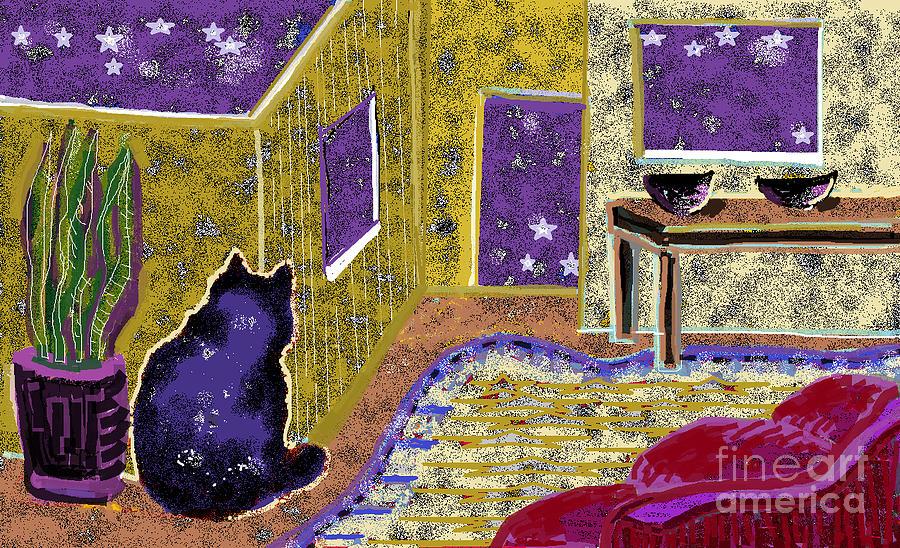 Night Sky Digital Art - Universal Cat by Beebe  Barksdale-Bruner