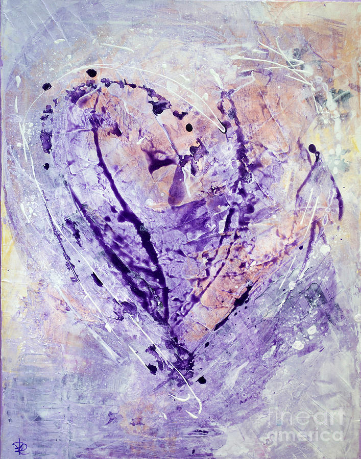 Color Painting - Universal Heart Pastel Purple Lilac Abstract By Chakramoon by Belinda Capol