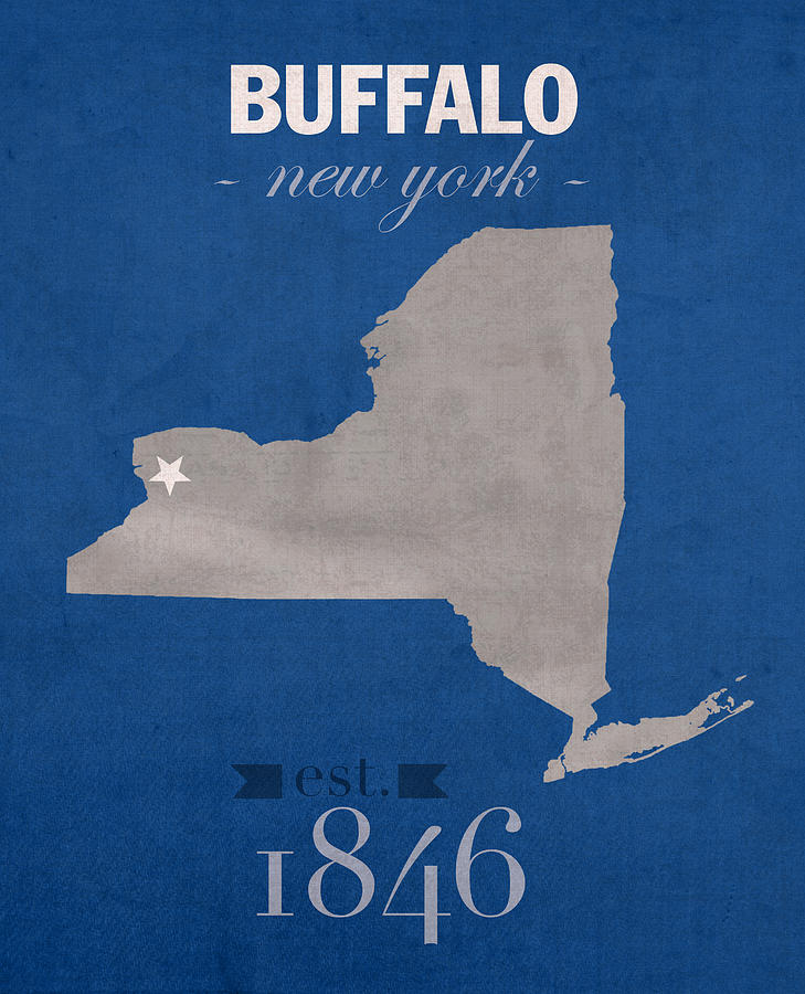 University At Buffalo Mixed Media - University At Buffalo New York Bulls College Town State Map Poster Series No 022 by Design Turnpike