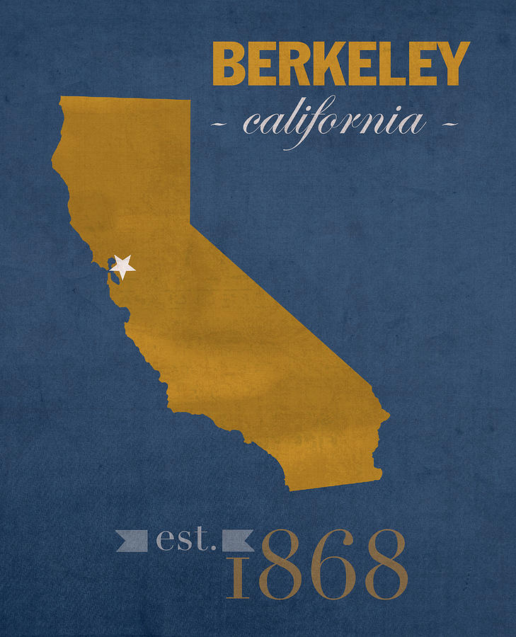 University Of California Mixed Media - University Of California At Berkeley Golden Bears College Town State Map Poster Series No 024 by Design Turnpike