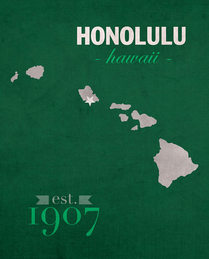 University Of Hawaii Rainbow Warriors Honolulu College Town State - Us college map poster