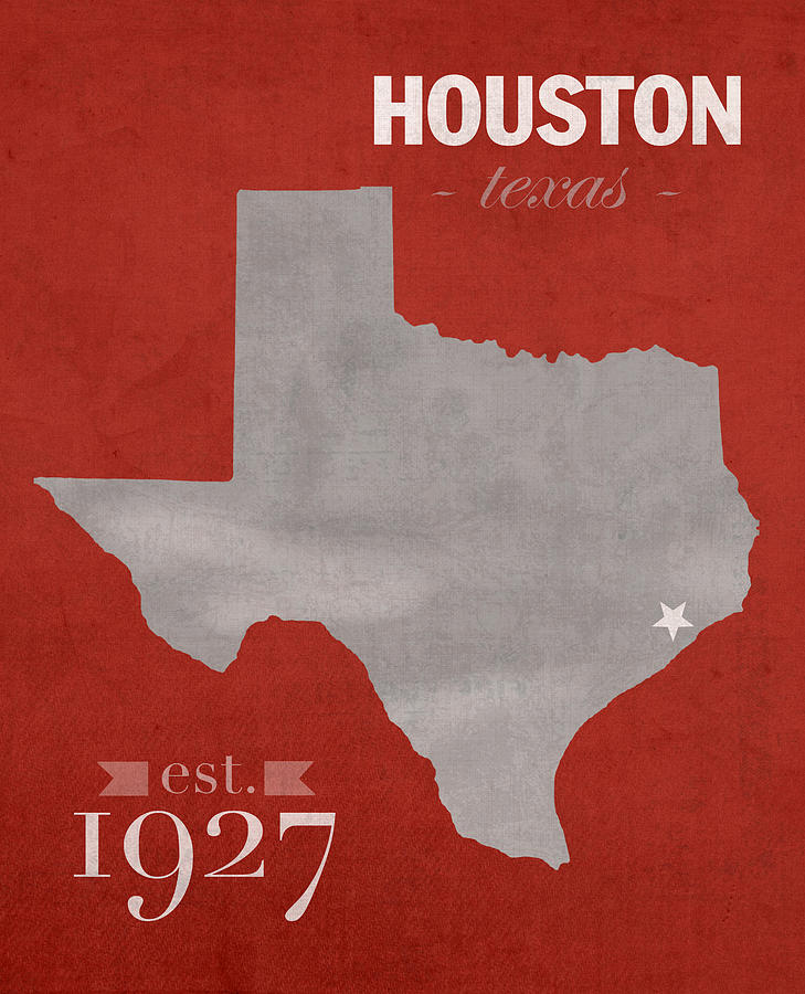 University Of Houston Mixed Media - University Of Houston Cougars Texas College Town State Map Poster Series No 045 by Design Turnpike