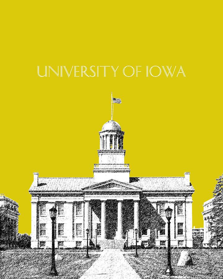 University Digital Art - University Of Iowa - Mustard Yellow by DB Artist