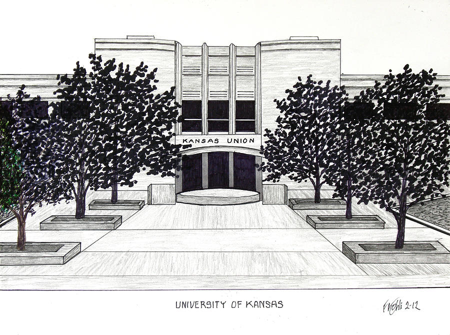 University of kansas union building drawing by frederic kohli for Building drawing online
