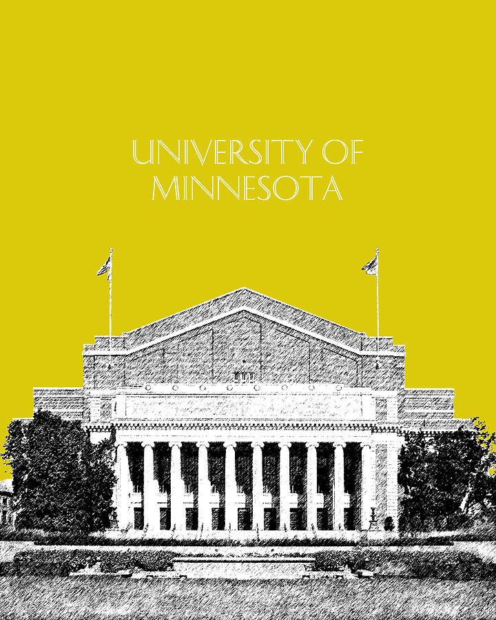 University Digital Art - University Of Minnesota 2 - Northrop Auditorium - Mustard Yellow by DB Artist