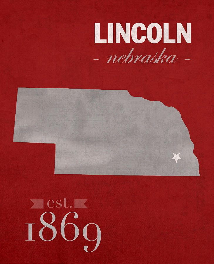 University Of Nebraska Mixed Media - University Of Nebraska Lincoln Cornhuskers College Town State Map Poster Series No 071 by Design Turnpike