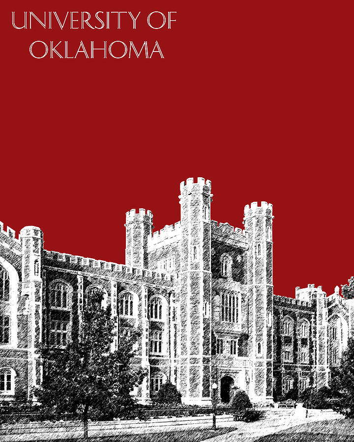 University Digital Art - University Of Oklahoma - Dark Red by DB Artist
