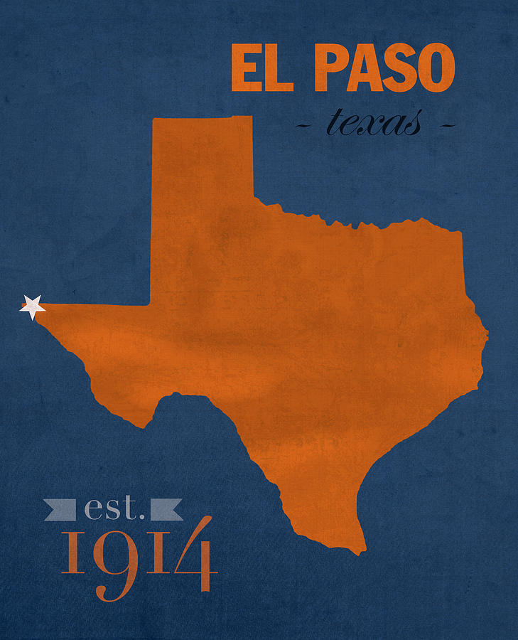 University Of Texas At El Paso Utep Miners College Town State Map - Us college map poster