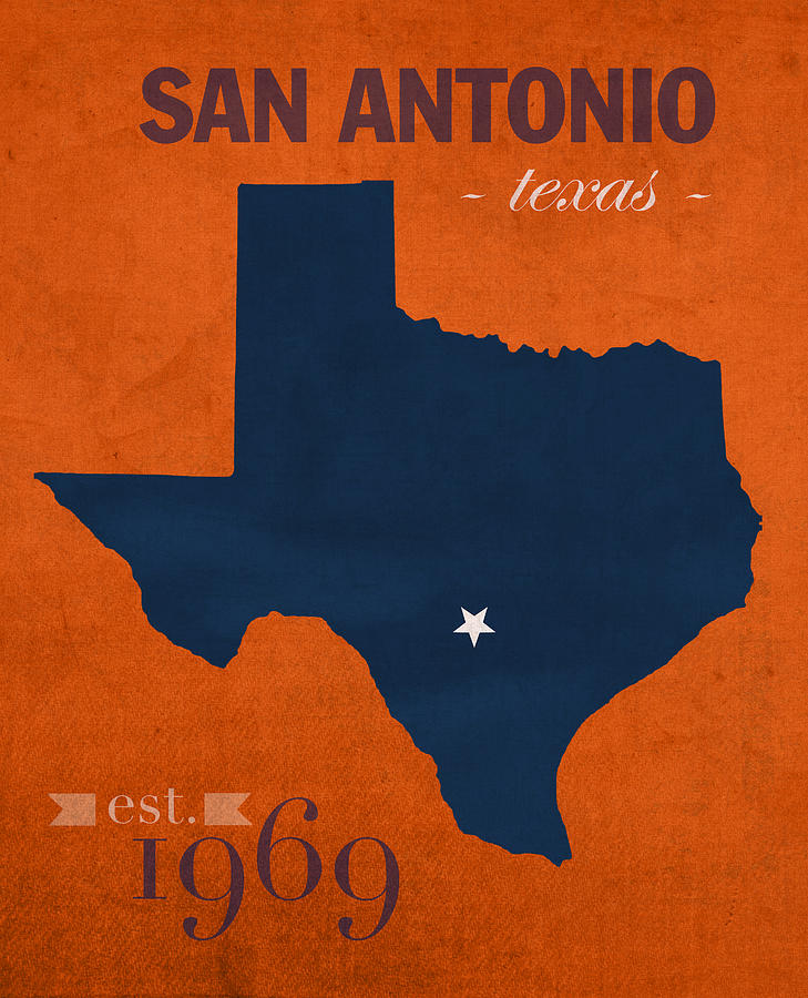 Texas Mixed Media - University Of Texas At San Antonio Roadrunners College Town State Map Poster Series No 111 by Design Turnpike