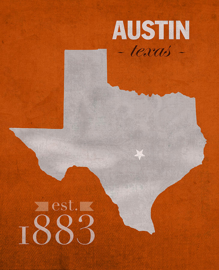 University Of Texas Longhorns Austin College Town State Map Poster - Us college map poster