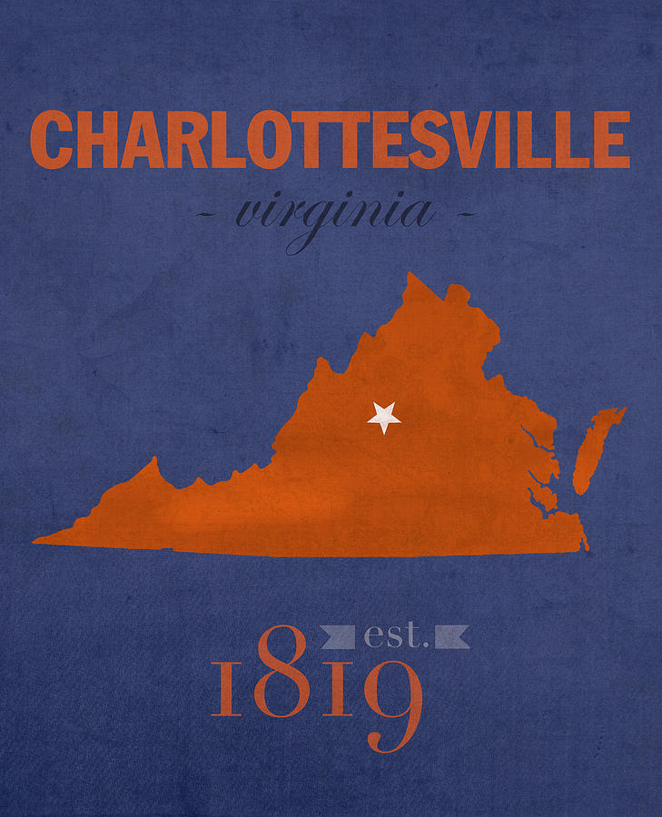 University Of Virginia Mixed Media - University Of Virginia Cavaliers Charlotteville College Town State Map Poster Series No 119 by Design Turnpike