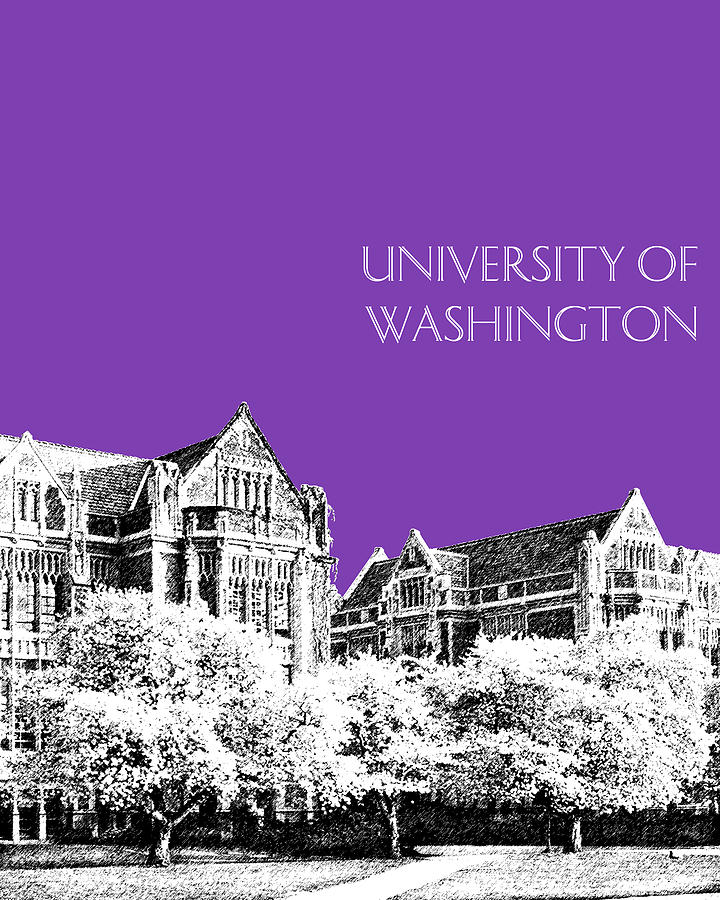University Digital Art - University Of Washington 2 - The Quad - Purple by DB Artist