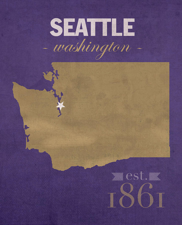 University Of Washington Huskies Seattle College Town State Map - Us college map poster