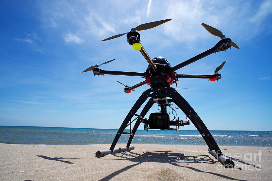 Accessibility Photograph - Unmanned Aerial Vehicle On Beach by Sami Sarkis