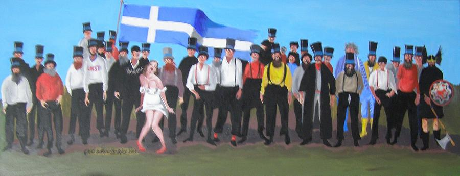 Cartoon Painting - Unst Mail Voice Choir World Tour by Eric Burgess-Ray