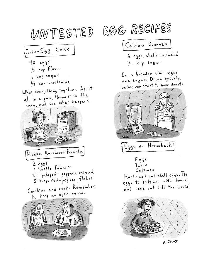 Untested Egg Recipes Drawing by Roz Chast