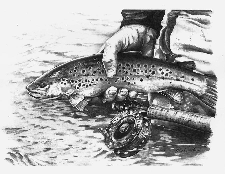 Flyfishing Drawing - Until Another Day by Mike Worthen