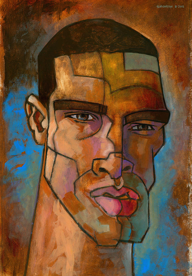 untitled male head august 2012 painting by douglas simonson