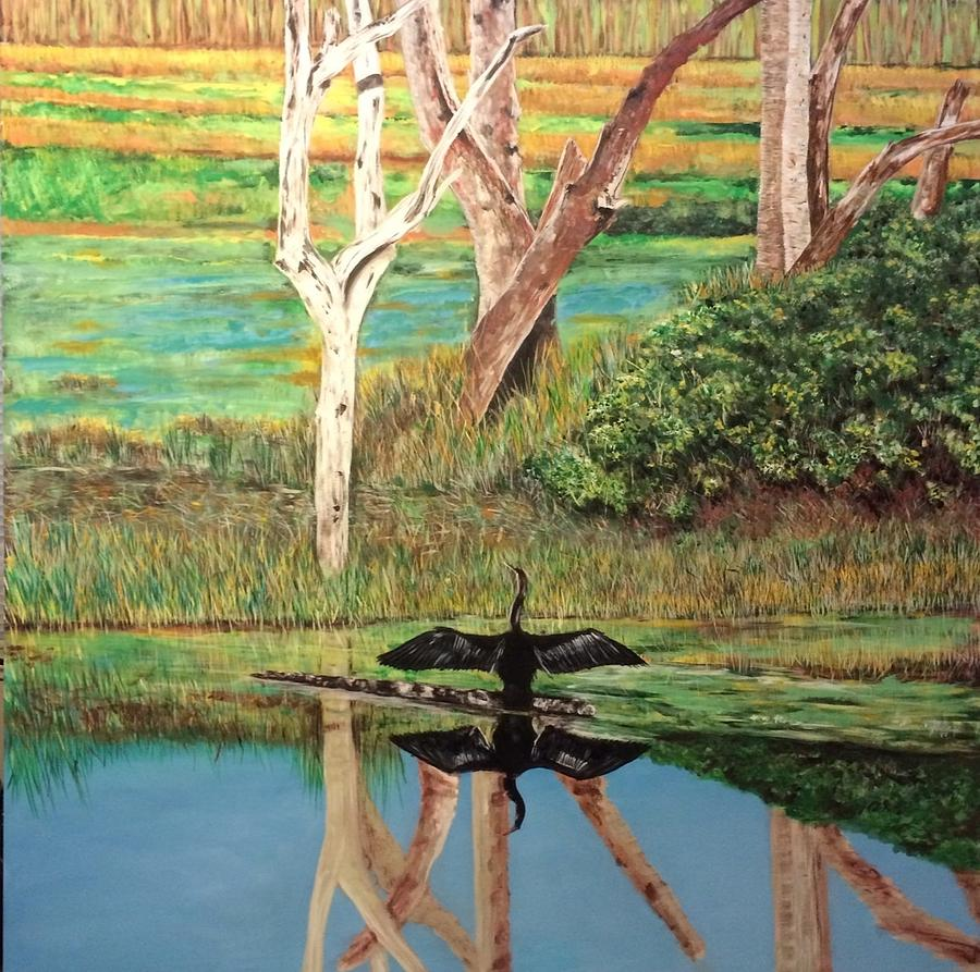 Marshland Painting - Florida Landscape by Mark Baird