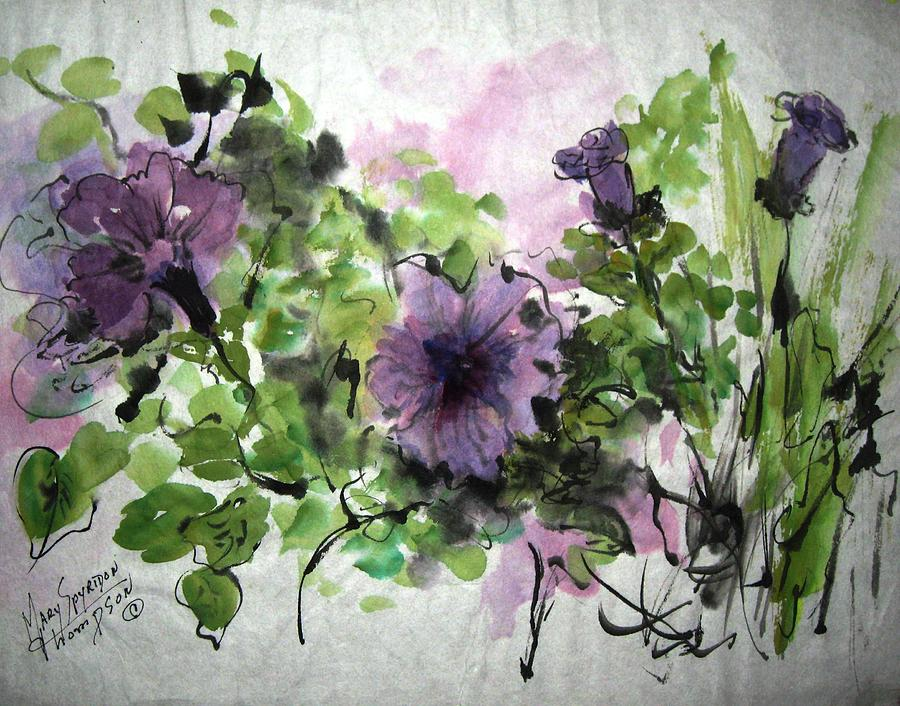 Violets Painting - Untitled by Mary Spyridon Thompson