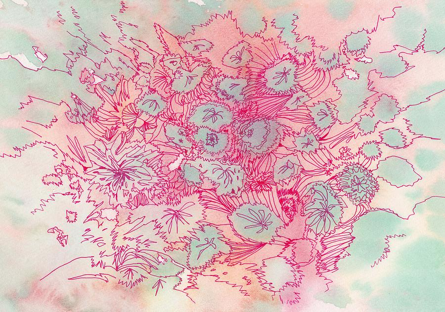 Flower Drawing - Untitled - #ss13dw040 by Satomi Sugimoto