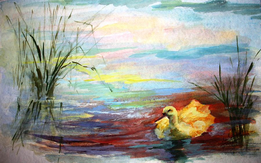 Yellow Duck Painting - Untitled Watercolor       by Mary Spyridon Thompson