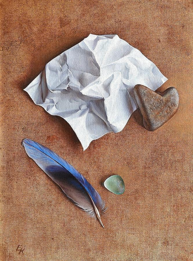 Symbol Painting - Unwritten Letter 2 by Elena Kolotusha