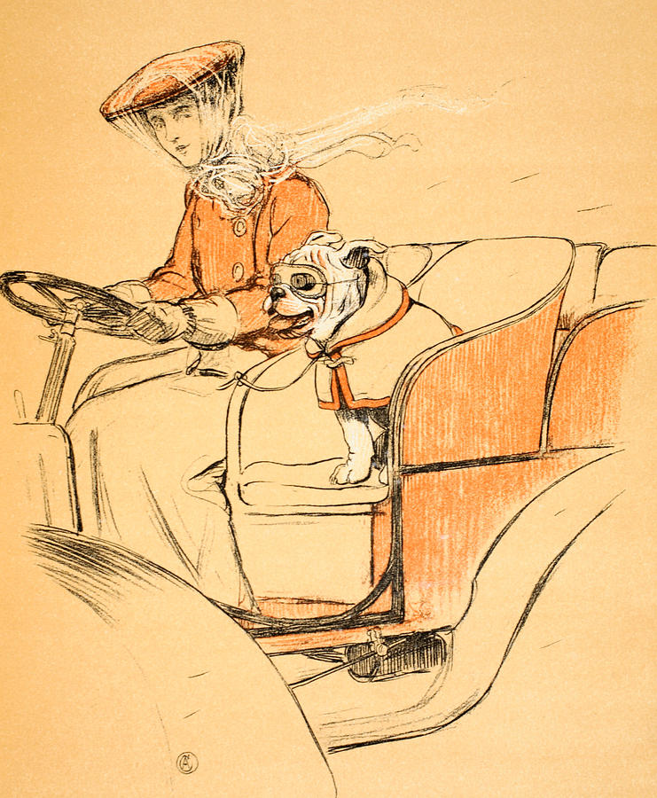 Motor Car Painting - Up Front by Cecil Charles Windsor Aldin