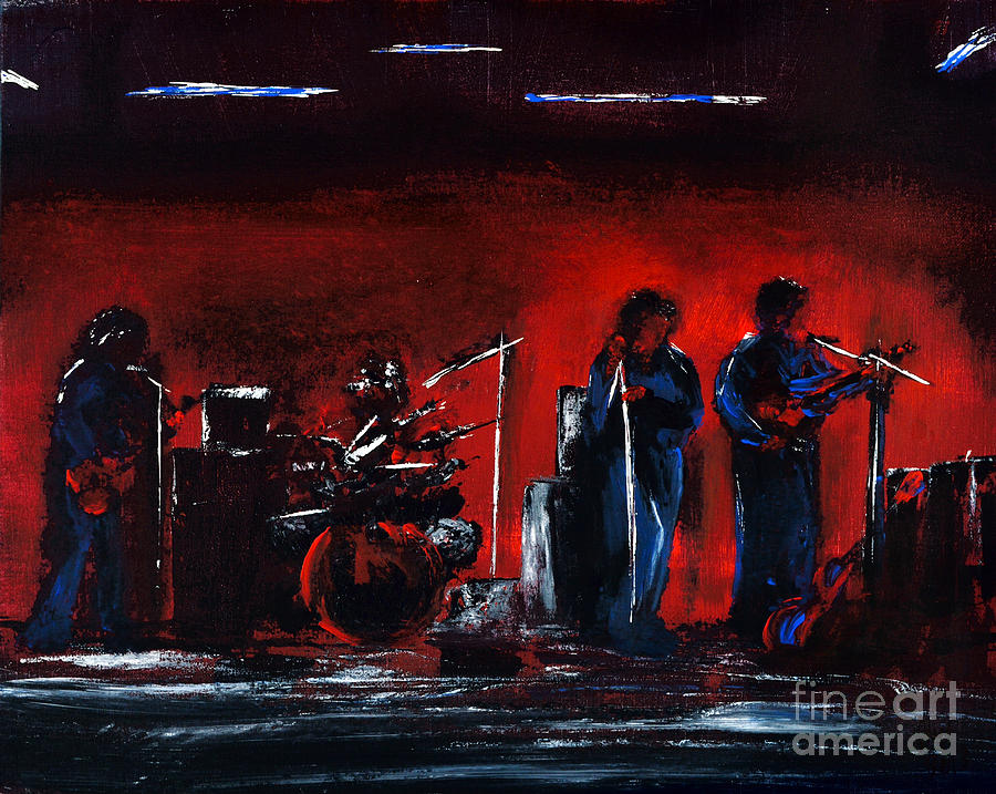 Band Painting - Up On The Stage by Alys Caviness-Gober