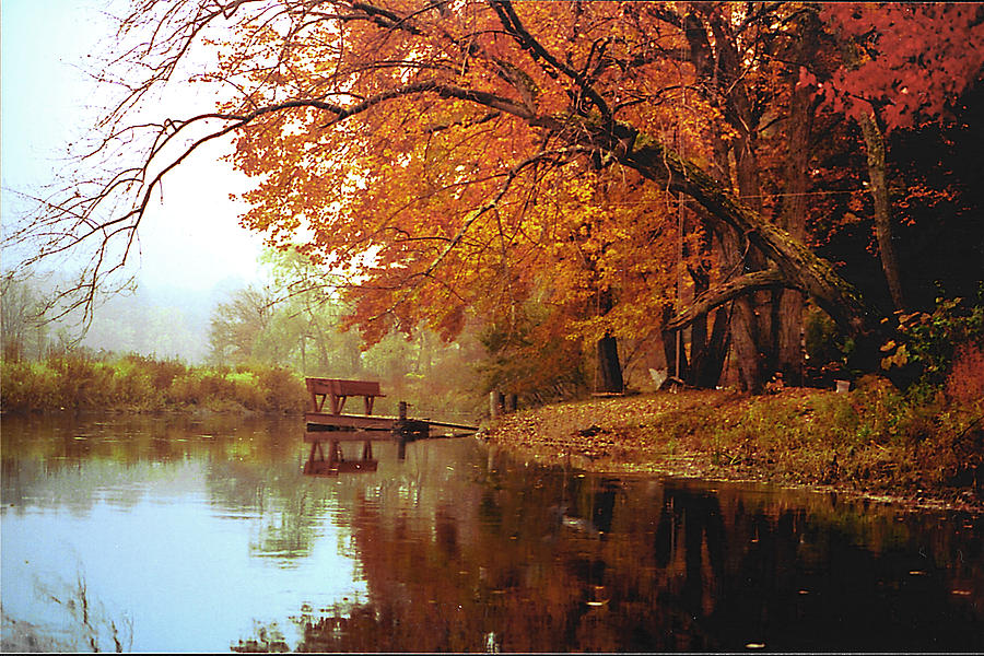 Landscape Photograph - Upper Charles River in Autumn by Roger Soule