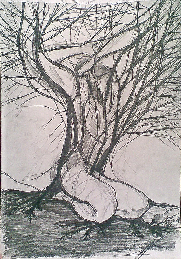 Uprooting 2 Drawing by Vaidos Mihai