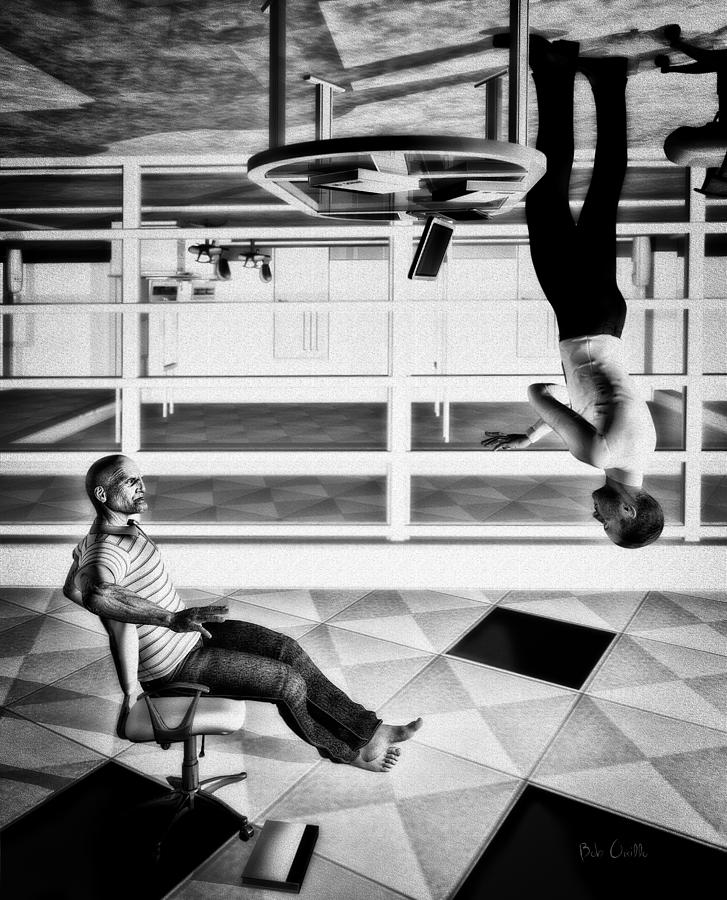 Surreal Digital Art - Upside Down Conversation by Bob Orsillo