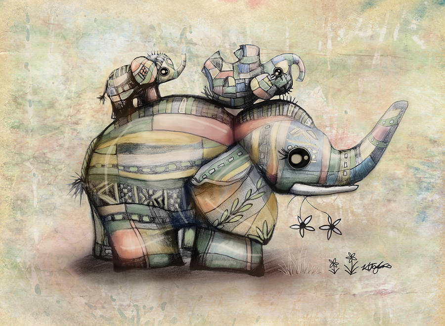 Upside Down Elephants Painting - Upside Down Elephants by Karin Taylor