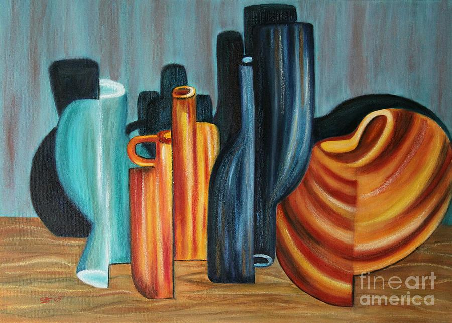 Vases Painting - Upside Down - Surreal Painting by Christiane Schulze Art And Photography