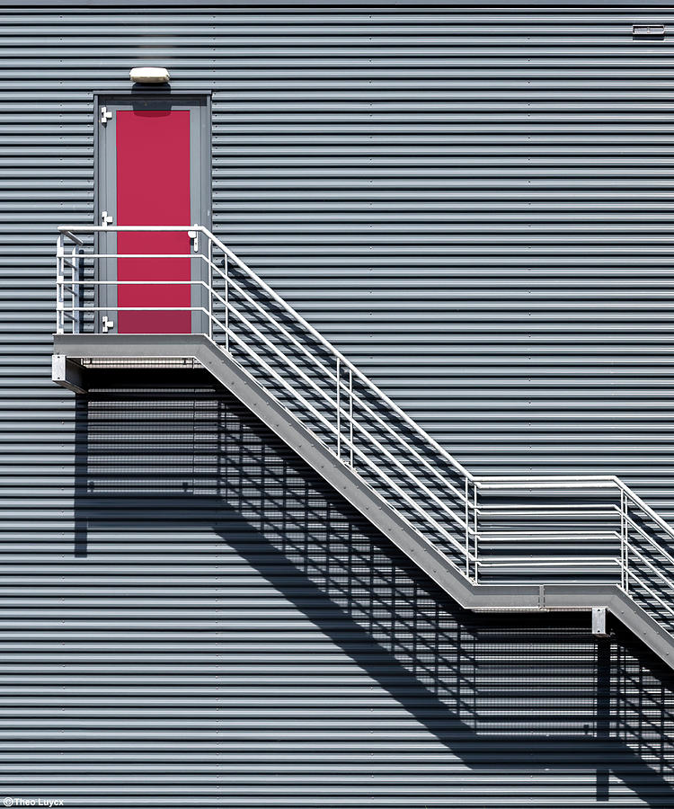 Stair Photograph - Upstairs To The Red Door by Theo Luycx