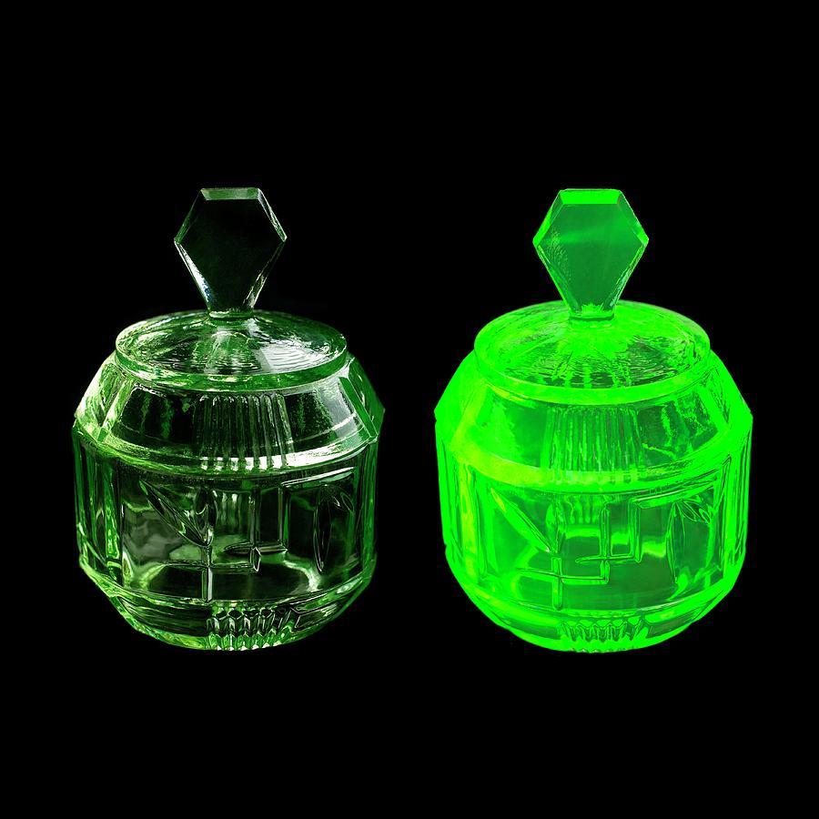 Uranium Glass Photograph - Uranium Glass Fluorescing by Science Photo Library