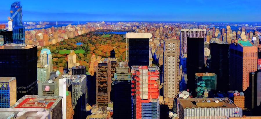Urban Abstract New York City Skyline And Central Park Photograph - Urban Abstract New York City Skyline And Central Park by Dan Sproul