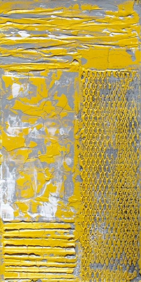 Yellow And Gray Painting - Urban Chic Diptych  by Holly Anderson