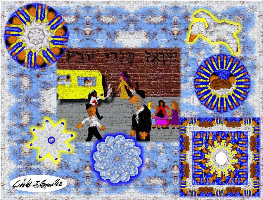 Jewish Art Mixed Media - Urban Design- Brooklyn Yeshiva Boy by Cibeles Gonzalez