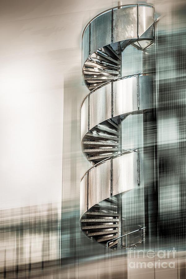 Stairs Digital Art - Urban Drill - Cyan by Hannes Cmarits